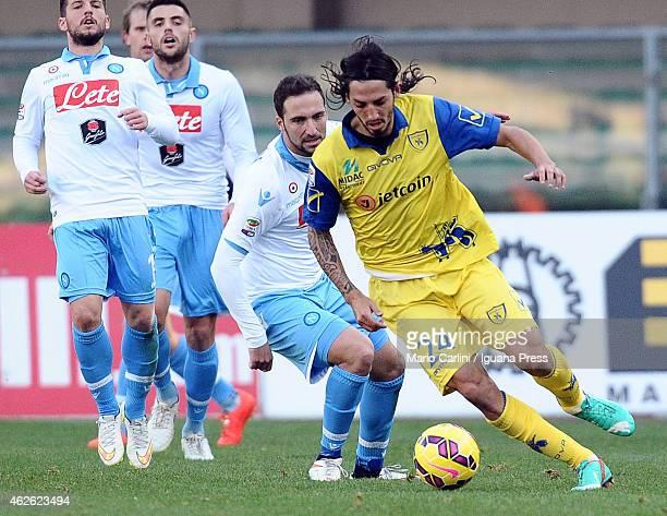 Ezequiel Schelotto of AC Chievo Verona in action during the Serie A match between AC Chievo Verona and SSC Napoli at Stadio Marc'Antonio Bentegodi on...