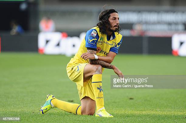 Ezequiel Schelotto of AC Chievo Verona looks on during the Serie A match between AC Chievo Verona and Genoa CFC at Stadio Marc'Antonio Bentegodi on...