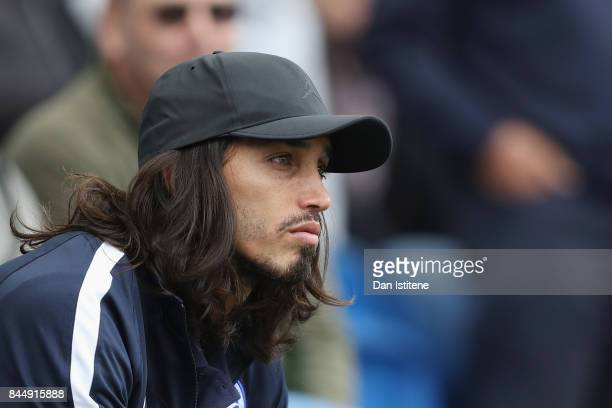 Ezequiel Schelotto of Brighton and Hove Albion looks on prior to the Premier League match between Brighton and Hove Albion and West Bromwich Albion...