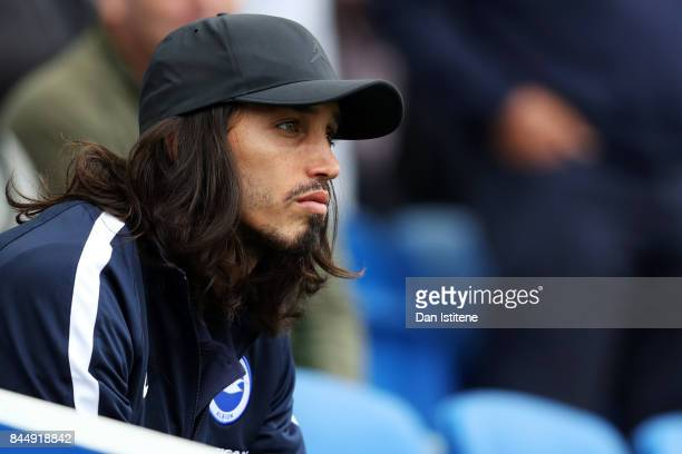 Ezequiel Schelotto of Brighton and Hove Albion watches from the stands during the Premier League match between Brighton and Hove Albion and West...
