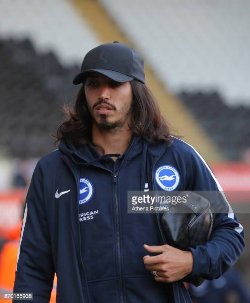Ezequiel Schelotto of Brighton arrives prior to the game during the Premier League match between Swansea City and Brighton and Hove Albion at The...