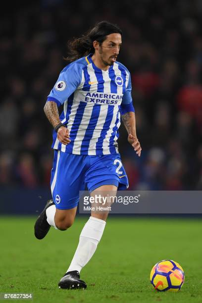 Ezequiel Schelotto of Brighton in action during the Premier League match between Brighton and Hove Albion and Stoke City at Amex Stadium on November...