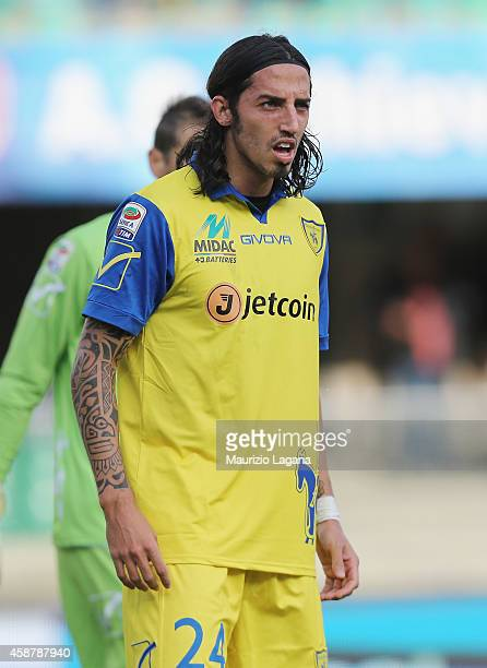 Ezequiel Schelotto of Chievo during the Serie A match between AC Chievo Verona and AC Cesena at Stadio Marc'Antonio Bentegodi on November 9 2014 in...