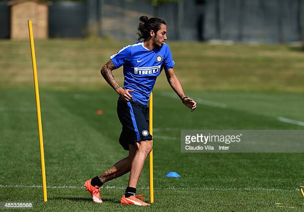 Ezequiel Schelotto of FC Internazionale in action during a training session at the club's training ground at Appiano Gentile on August 27 2015 in...