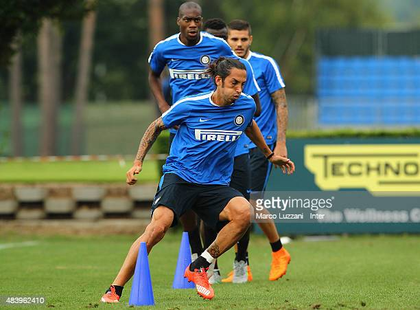 Ezequiel Schelotto of FC Internazionale Milano runs during FC Internazionale training session at the club's training ground on August 14 2015 in...
