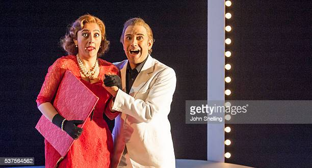 Ezgi Kutlu as Isabella and Luciano Botelho as Lindoro perform on stage during a performance of L'italiana in Algeri at Garsington Opera at Wormsley...
