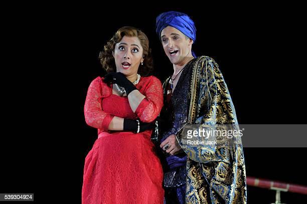 Ezgi Kutlu as Isabella and Quirijn de Lang as Mustafa in Garsington Opera's production of Gioachino Rossini's L'Italiana in Algeri directed by Will...