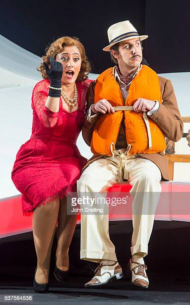 Ezgi Kutlu as Isabella and Riccardo Novaro as Taddeo perform on stage during a performance of L'italiana in Algeri at Garsington Opera at Wormsley on...
