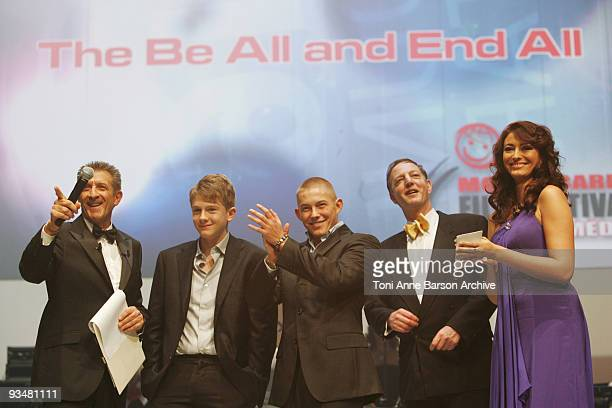 Ezio Greggio Josh Bolt Eugene Byrne director and Rachel LegrainTrapani attend the Monte Carlo Comedy Film Festival Gala Awards Ceremony at the...