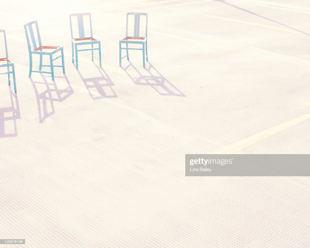 Blue Chairs in the sun : Stock Photo