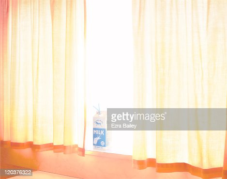 Milk carton on window ledge : Stock Photo