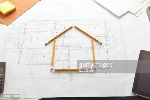 A house constructed by pencils. : Stock Photo