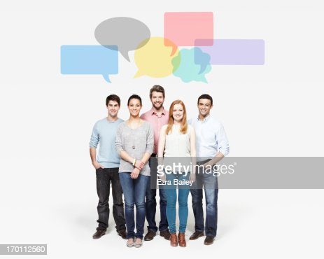 Group of people under speech bubbles.