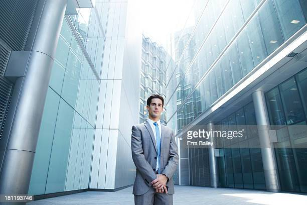 Portrait of businessman in the city.