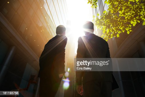 Two businessmen looking up into the sun.