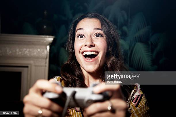 Woman winning a computer game.