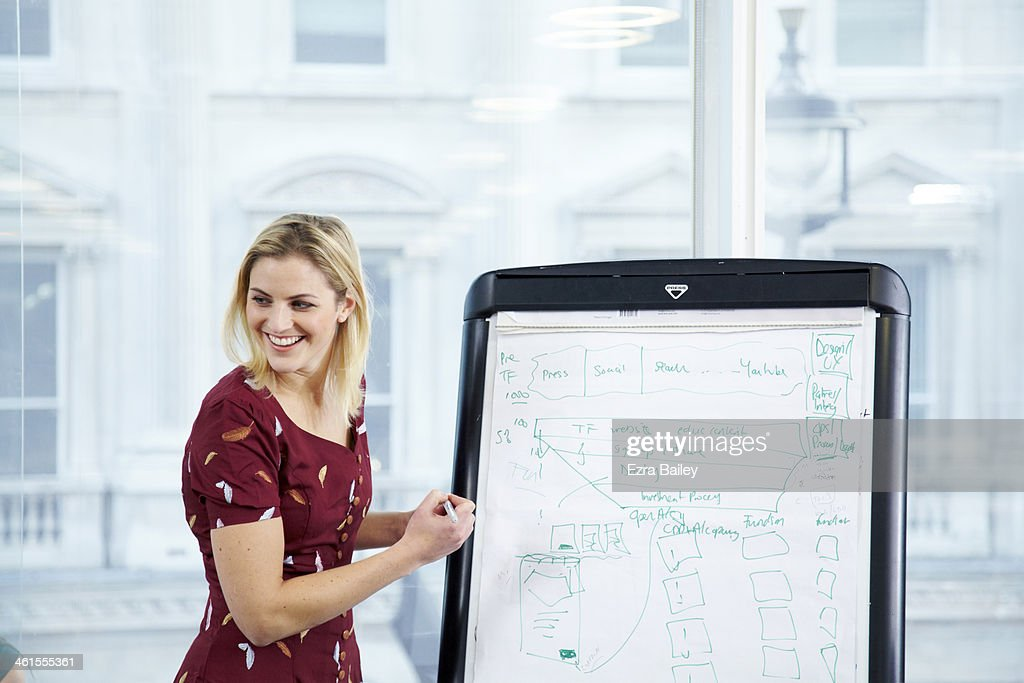 Business woman presenting during a meeting. : Stock Photo