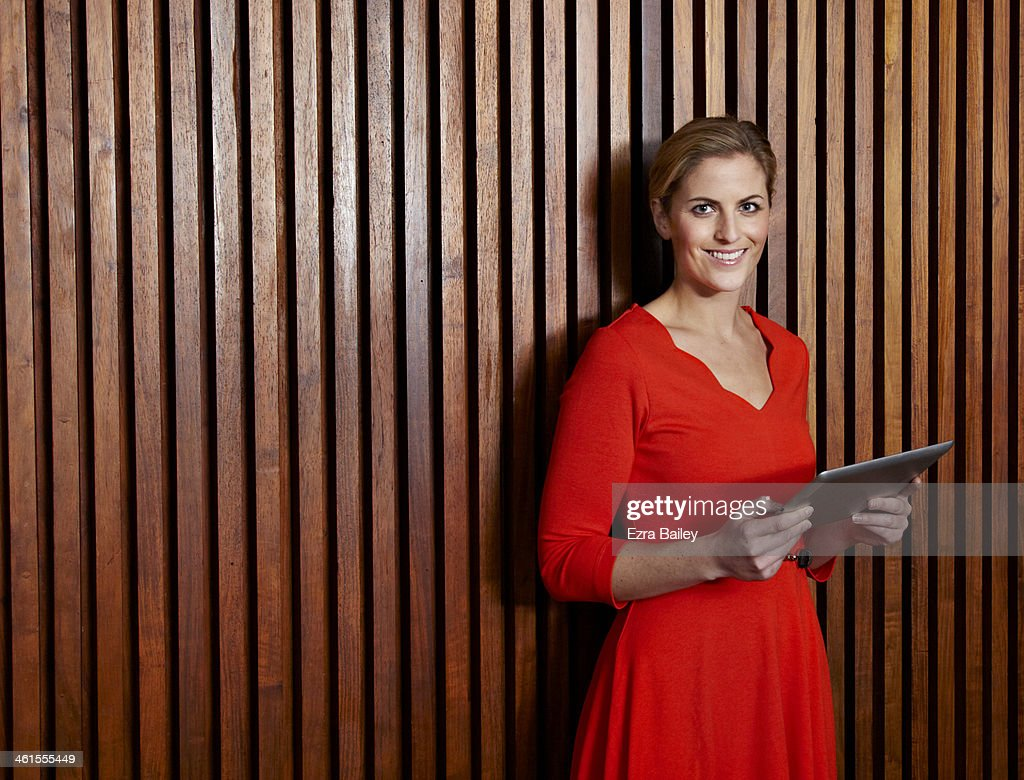 Business woman holding a digital tablet. : Stock Photo