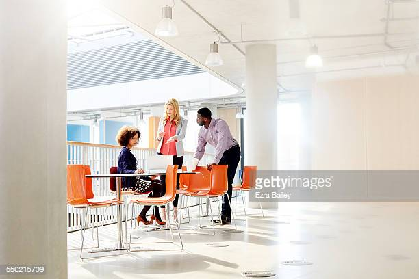 Three business people chatting over laptop