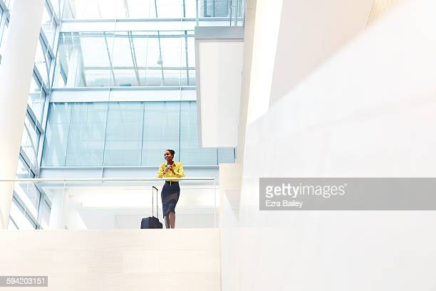 Black businesswoman in a graphic modern office.