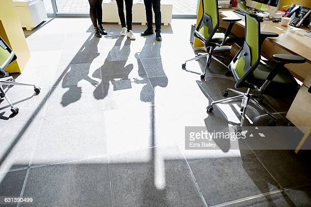 Shadows of coworkers discuss project in sunlight