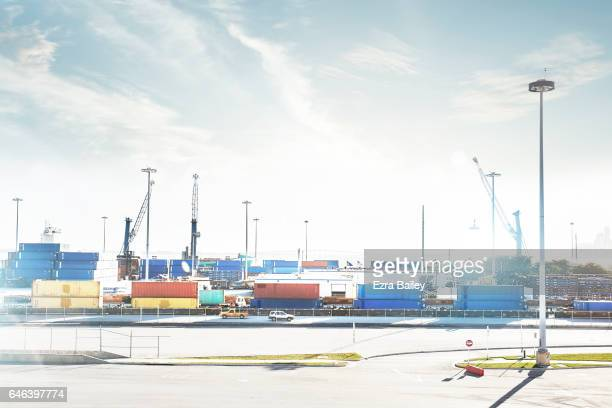View of an industrial container port.