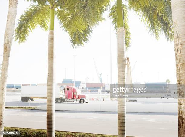 Lorry leaving an industrial container port