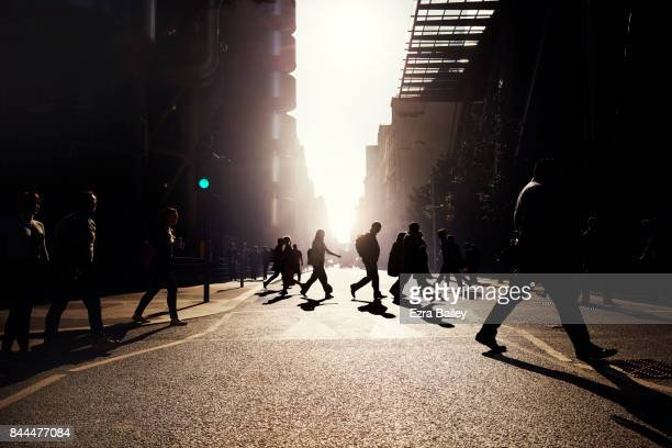 Business people walking at work in a city