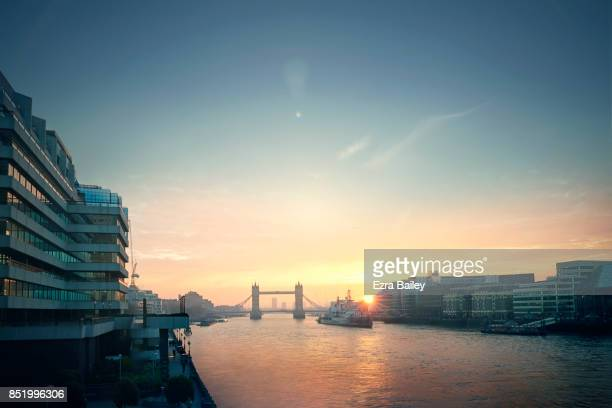 View over the River Thames at dawn.