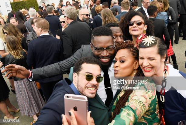 Ezra Edelman Tarell Alvin McCraney Ava DuVernay and Kirsten Johnson attend the 2017 Film Independent Spirit Awards at the Santa Monica Pier on...