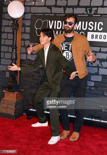 Ezra Koenig and Christopher Tomson of Vampire Weekend attend the 2013 MTV Video Music Awards at the Barclays Center on August 25 2013 in the Brooklyn...