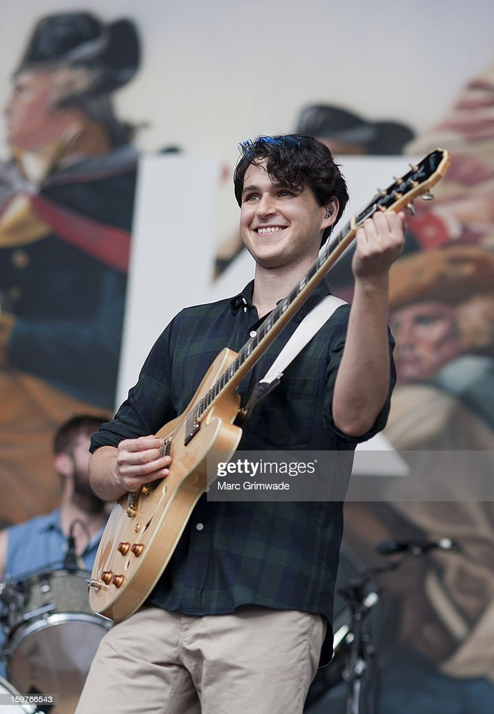 <a gi-track='captionPersonalityLinkClicked' href=/galleries/search?phrase=Ezra+Koenig&family=editorial&specificpeople=4958539 ng-click='$event.stopPropagation()'>Ezra Koenig</a> from Vampire Weekend performs live on stage at Big Day Out 2013 on January 20, 2013 in Gold Coast, Australia.