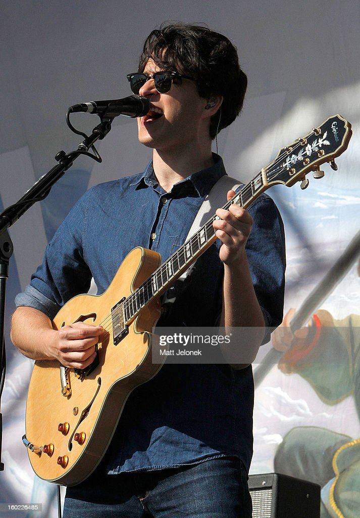 <a gi-track='captionPersonalityLinkClicked' href=/galleries/search?phrase=Ezra+Koenig&family=editorial&specificpeople=4958539 ng-click='$event.stopPropagation()'>Ezra Koenig</a> of Vampire Weekend performs during Big Day Out at Claremont Showgrounds on January 28, 2013 in Perth, Australia.