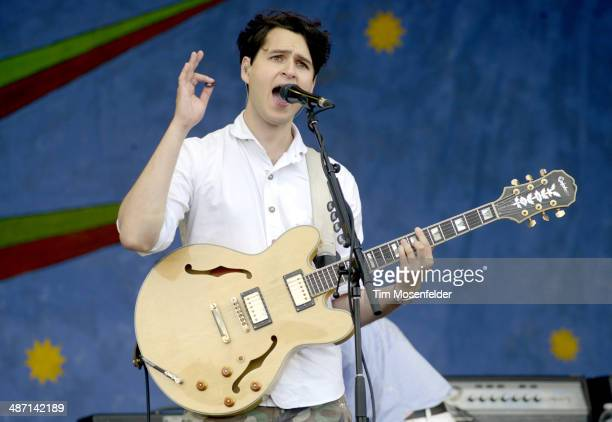 Ezra Koenig of Vampire Weekend performs during the 2014 New Orleans Jazz Heritage Festival Day 3 at Fair Grounds Race Course on April 27 2014 in New...