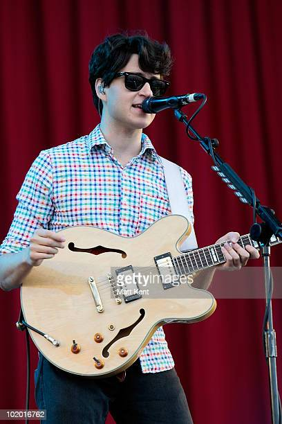 Ezra Koenig of Vampire Weekend performs on day 2 of the Isle Of Wight Festival at Seaclose Park on June 12 2010 in Newport Isle of Wight