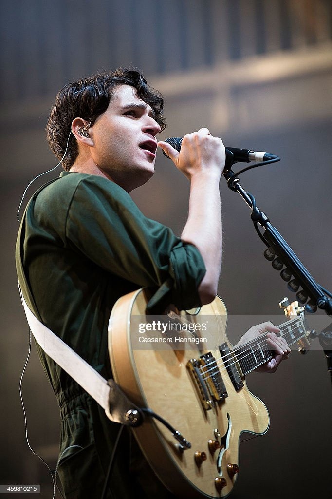 <a gi-track='captionPersonalityLinkClicked' href=/galleries/search?phrase=Ezra+Koenig&family=editorial&specificpeople=4958539 ng-click='$event.stopPropagation()'>Ezra Koenig</a> of Vampire Weekend performs on stage during Falls Festival on December 31, 2013 in Lorne, Australia.