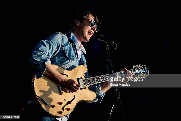 Ezra Koenig of Vampire Weekend performs on stage during the 2014 Lollapalooza Brazil at Autodromo de Interlagos on April 6 2014 in Sao Paulo Brazil