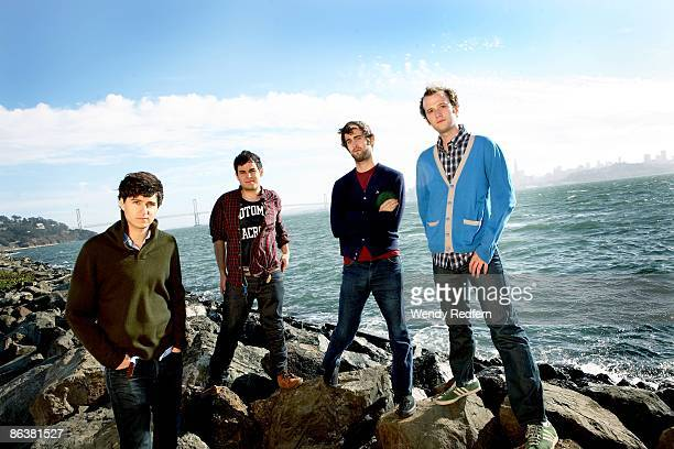 Ezra Koenlg Rostam Batmanglljof Chris Tomson Chris Balo of Vampire Weekend pose for a group shot in 2008 in San Francisco CA