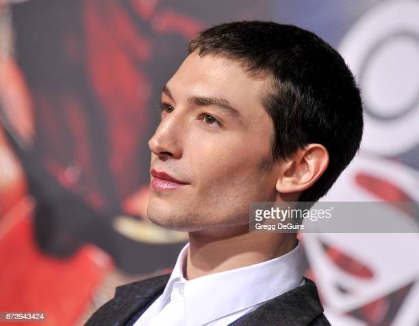 Ezra Miller arrives at the premiere of Warner Bros Pictures' 'Justice League' at Dolby Theatre on November 13 2017 in Hollywood California