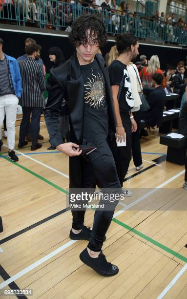Ezra Miller attends London Fashion Week Men's June 2017 collections on June 12 2017 in London England