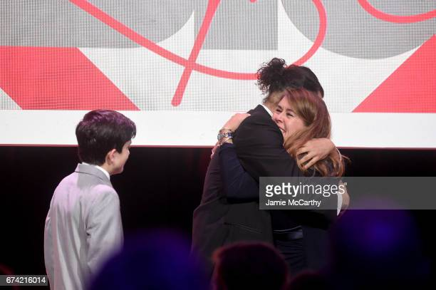 Ezra Miller Luis Miranda and Cynthia Lowry onstage at 11th Annual DKMS 'BIG LOVE' Gala on April 27 2017 in New York City
