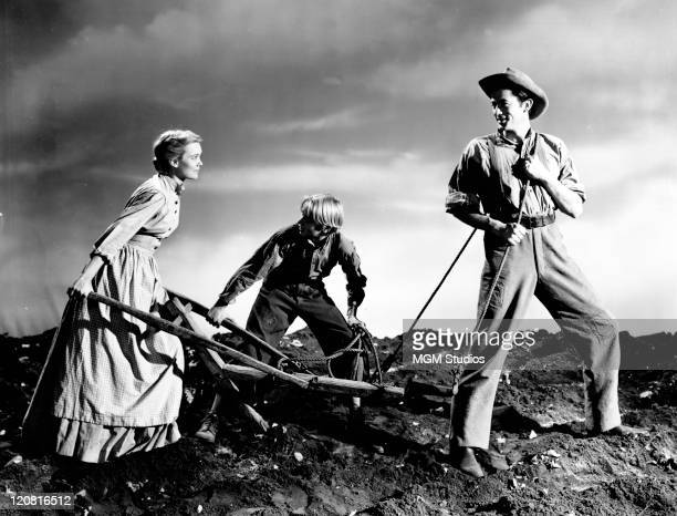 Ezry 'Penny' Baxter his wife Ora and their son Jody in a publicity still for 'The Yearling' directed by Clarence Brown 1946