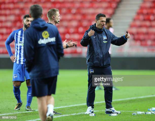 f Hertha Berlin coach Ante Covic during the Premier League International Cup match between Sunderland U23 and Hertha Berlin U23 at Stadium of Light...