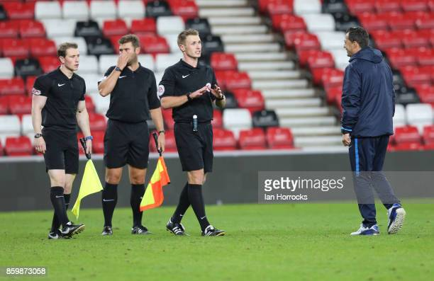 f Hertha Berlin coach Ante Covic talks to the officials during the Premier League International Cup match between Sunderland U23 and Hertha Berlin...