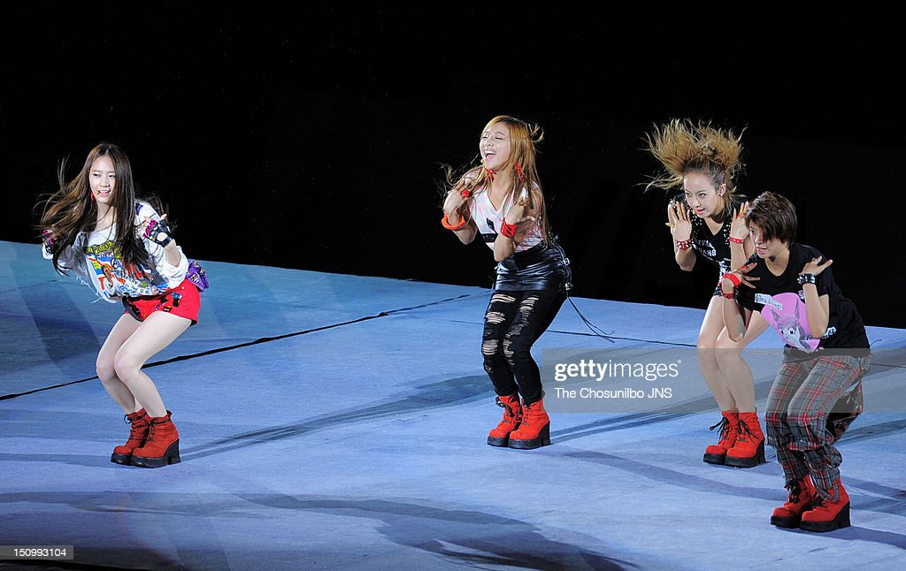 f(x) perform during 'SM Town Live World Tour 3 In Seoul' at Jamsil Sports Complex on August 18, 2012 in Seoul, South Korea.