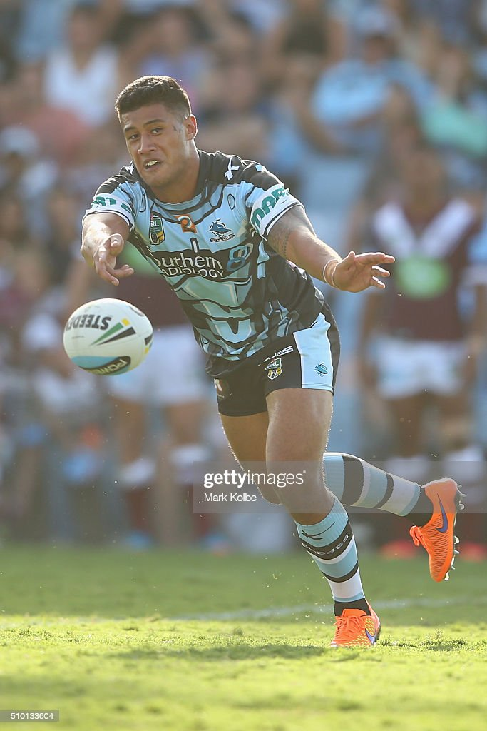 Fa'amanu Brown of the Sharks passes during the NRL Trial match between the Cronulla Sharks and the Manly Sea Eagles at Remondis Stadium on February 14, 2016 in Sydney, Australia.