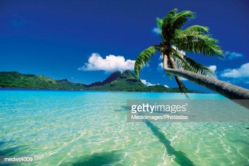 Faanui Bay, as seen from beach on Bora Bora, French Polynesia