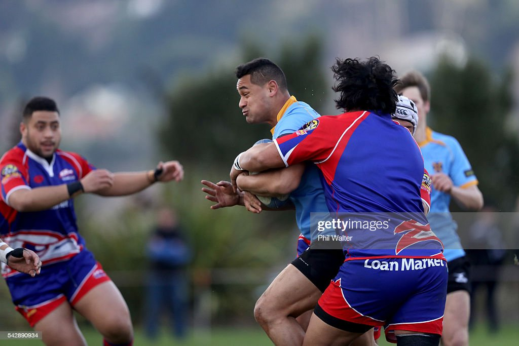 Faasiu Fuatai of University is tackled during the Otago Club Rugby match between Harbour and University at Watson Park on June 25, 2016 in Dunedin, New Zealand.