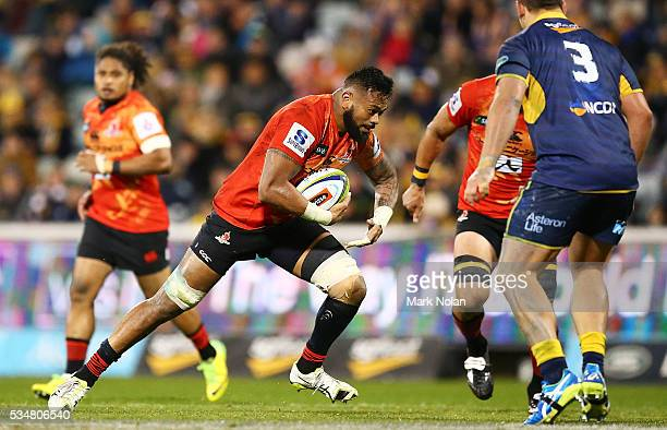 Fa'Atiga Lemalu of the Sunwolves runs the ball during the round 14 Super Rugby match between the Brumbies and the Sunwolves at GIO Stadium on May 28...