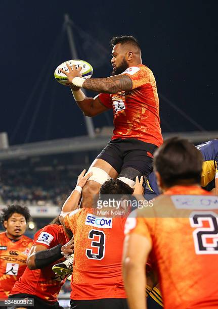 Fa'Atiga Lemalu of the Sunwolves wins line out ball during the round 14 Super Rugby match between the Brumbies and the Sunwolves at GIO Stadium on...